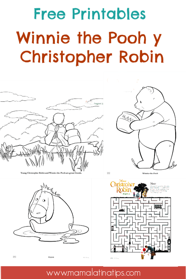 Enjoy these free Winnie the Pooh and Christopher Robin printables. Includes coloring pages, mazes, a doorknob hanger, pin the tail on Eeyore, and more. #FreePrintables #DisneyPrintables #WinniethePoohPrintables