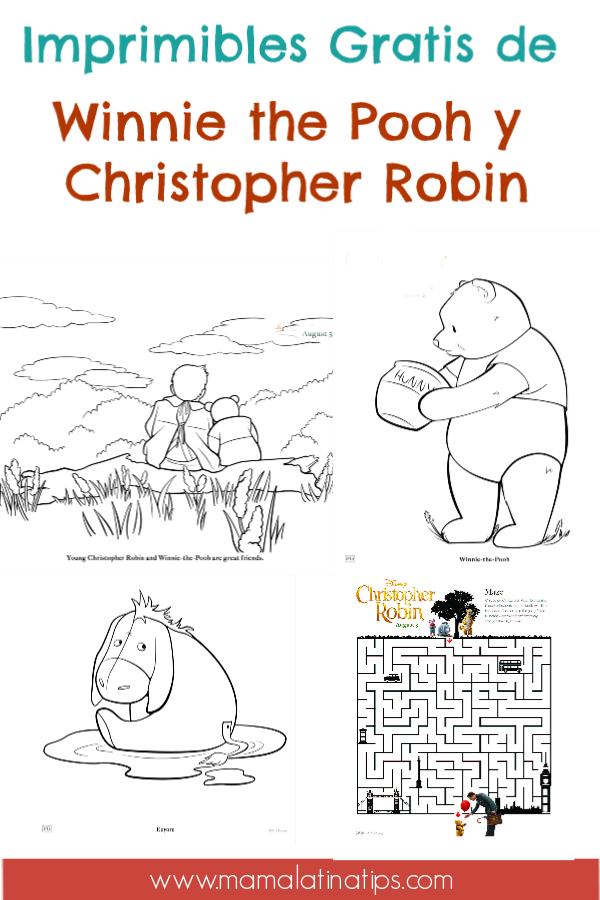 Descarga, imprime y colorea con estos dibujos de Winnie the Pooh, Christopher Robin y sus amigos. Juegos y más. Imprimibles gratis. #Imprimibles #hojasparacolorear #WinniethePooh