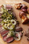 pan fried sirloin steak with poblano peppers and corn