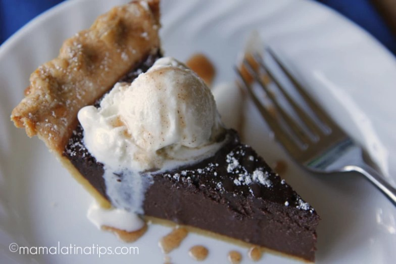Slice of Mexican chocolate pie a la mode