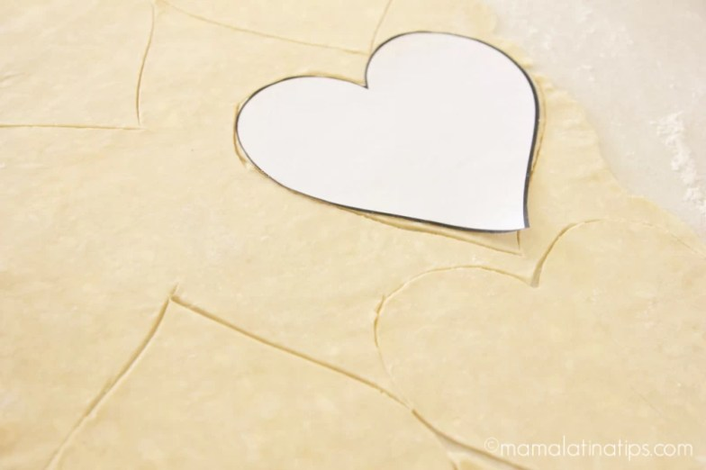 cutting hearts of pie dough