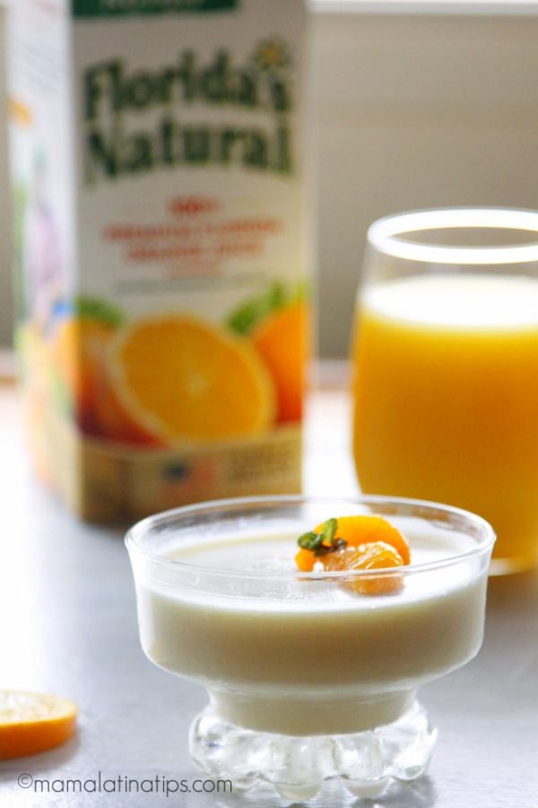 Orange cream gelatin and a glass with Florida's Natural orange juice