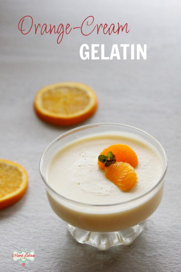 Orange cream gelatin with mandarin oranges on top