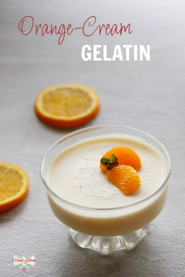 Orange cream gelatin with mandarin oranges on top