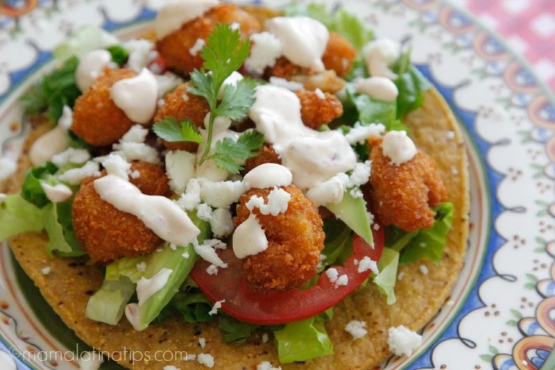 popcorn shrimp tostada with chipotle cream