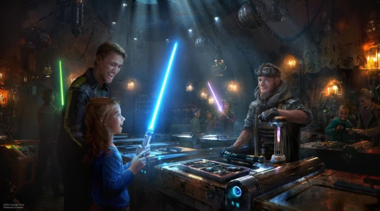 Creative poster of Savis Workshop at Star Wars Galaxy's Edge in Disneyland