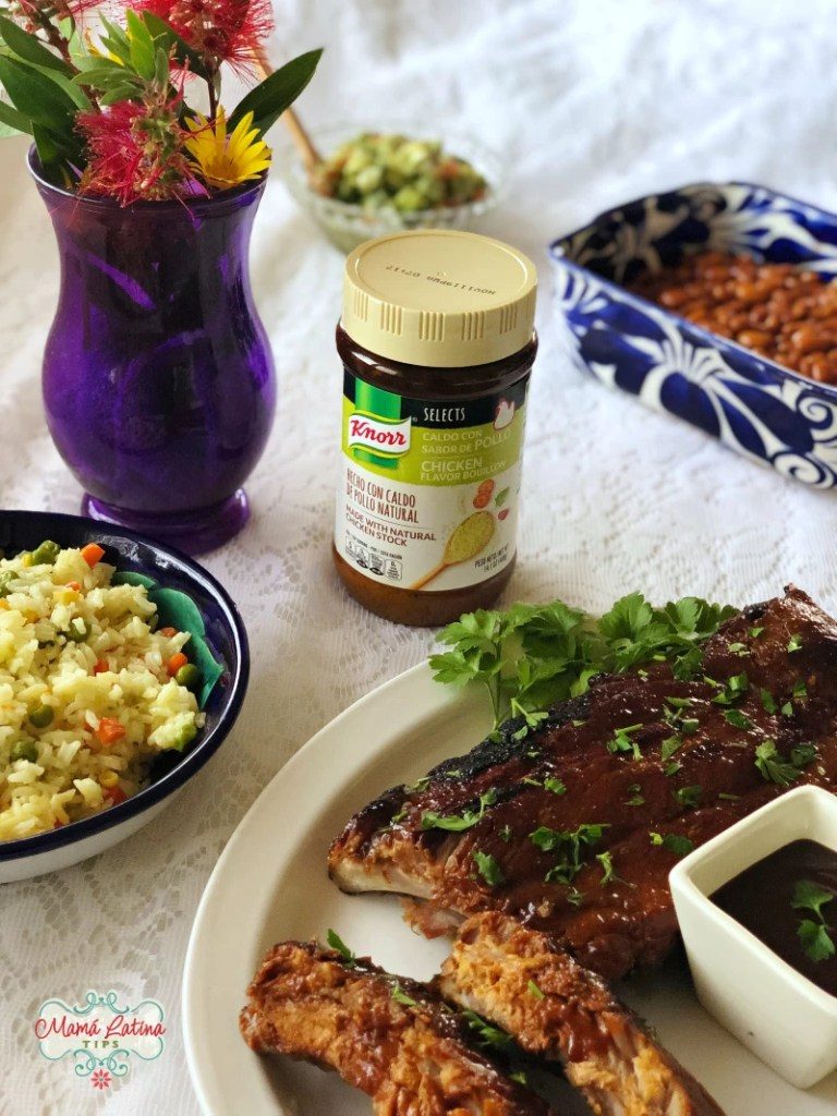 Knorr Select Chicken Flavor Bouillon Jar, pork ribs, rice and beans