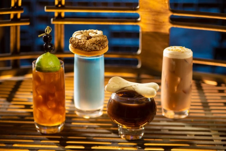 Bebidas de colores en vasos altos de Oga's Cantina en Star Wars Galaxy Edge
