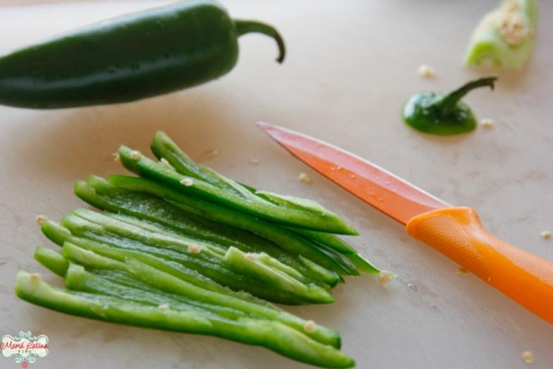 Fresh jalapeño peppers sliced