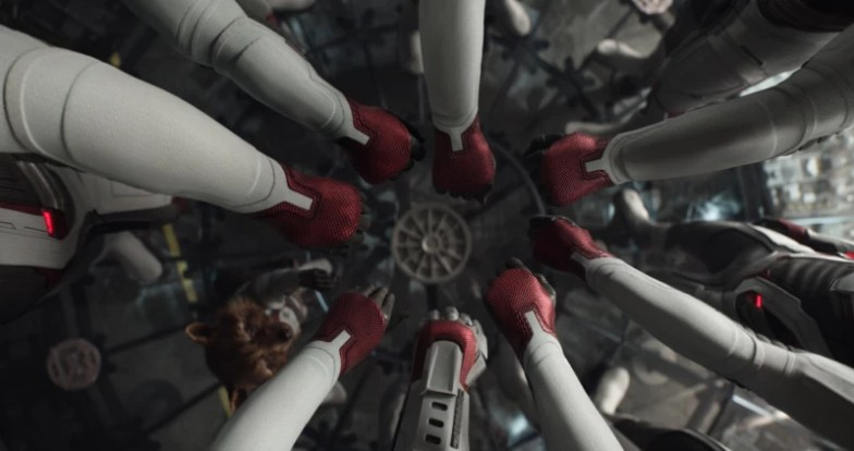 8 avengers arms together from the Avengers Endgame movie