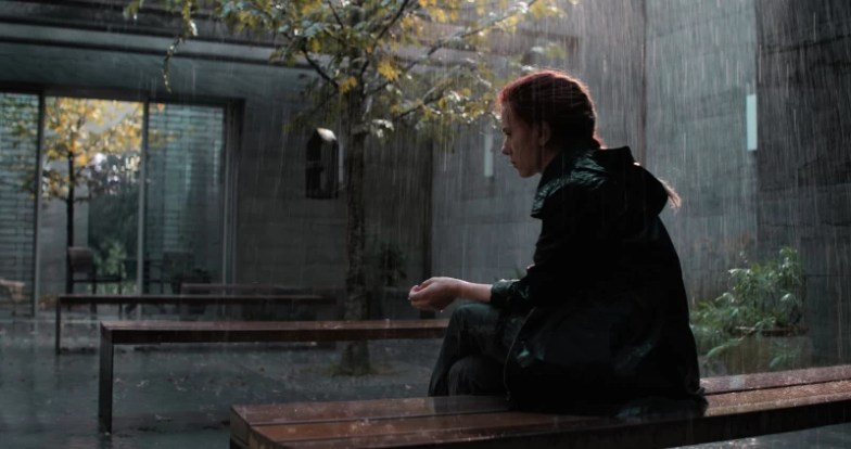 Scarlet Johannson (Black Widow) sit in a bench, scene from Avengers Endgame movie
