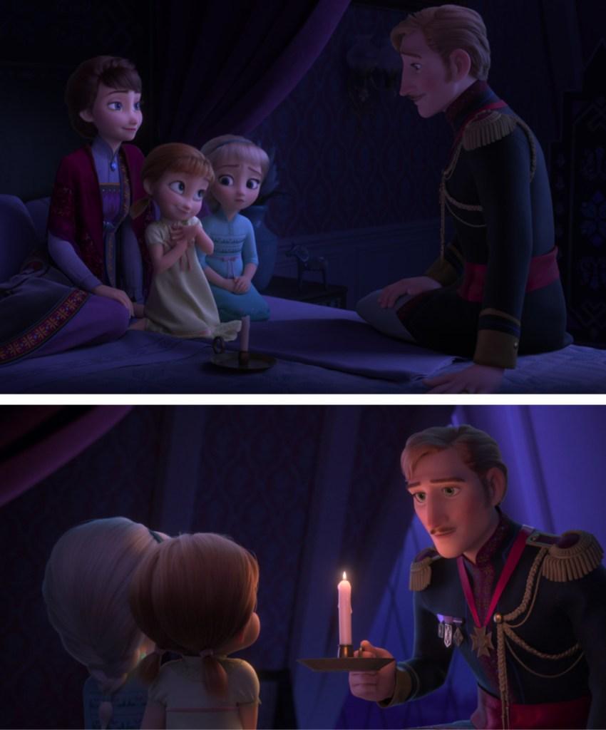Escenas de Frozen 2 de Anna y Elsa cuando eran niñas con sus padres