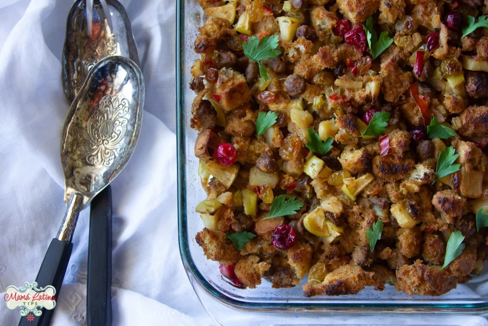 sausage focaccia stuffing with raisins