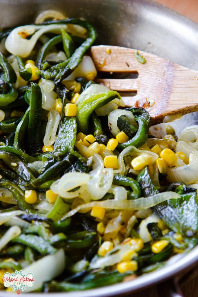 poblano and corn with onion