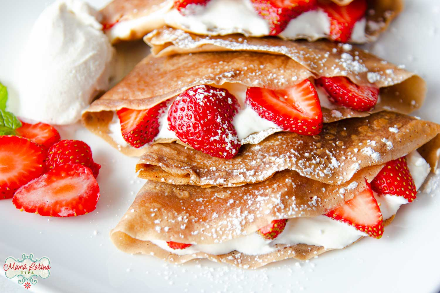 neapolitan crepes with fresh strawberries