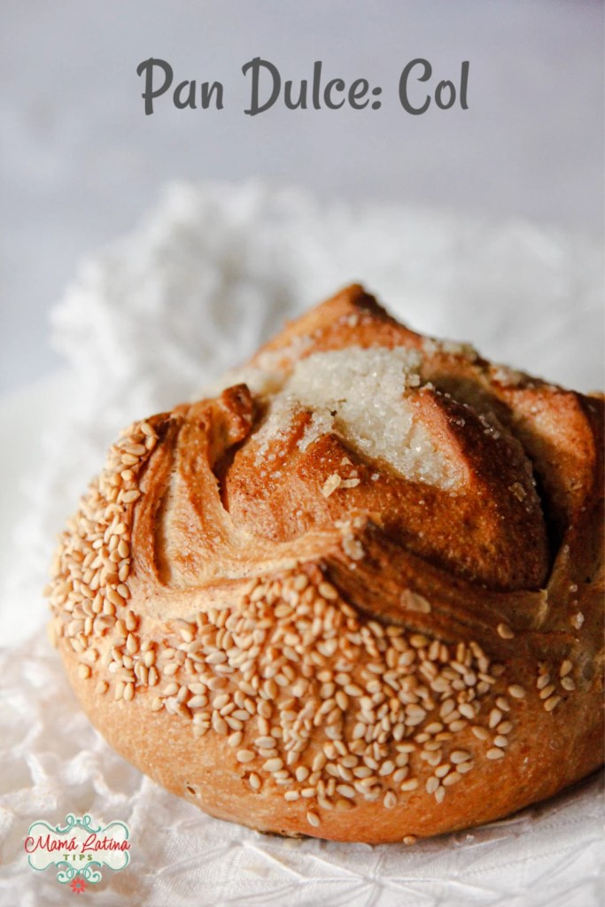 Bread with sesame seeds on top of a white table