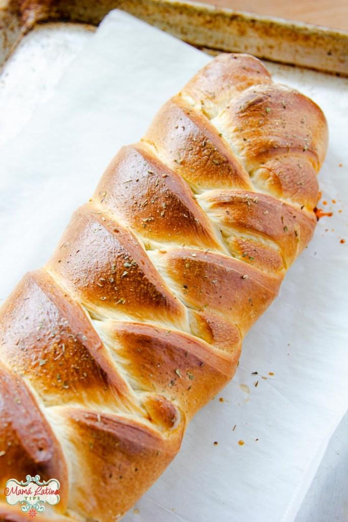 braid bread on a baking sheet