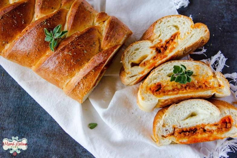 sliced vegetarian chorizo cheese braid