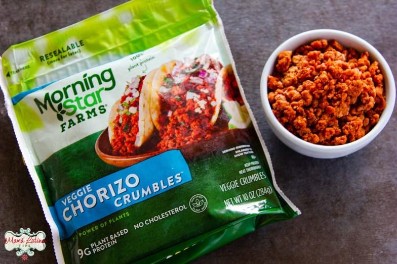 MorningStar Farms veggie chorizo bag along with chorizo in a bowl