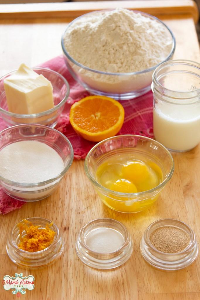 Ingredientes para hacer pan de muerto