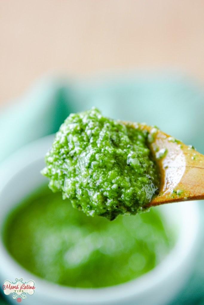 Pesto on a wooden spoon