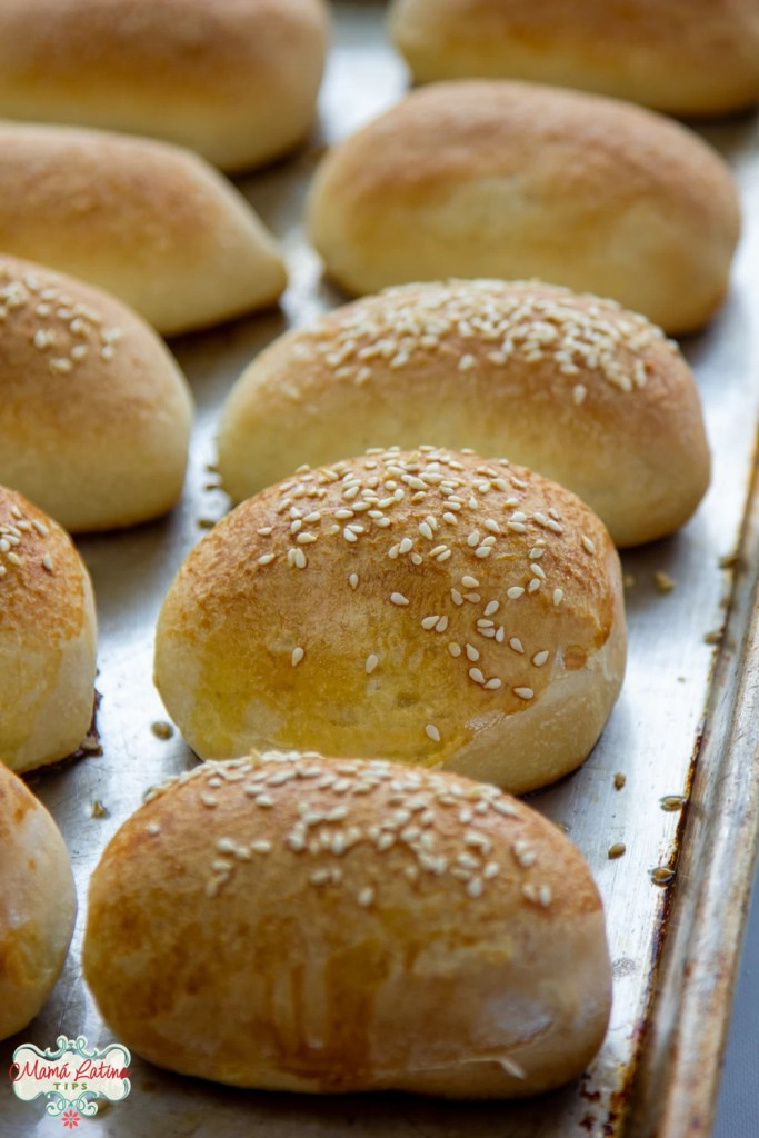 Parkerhouse style rolls with sesame seeds baked