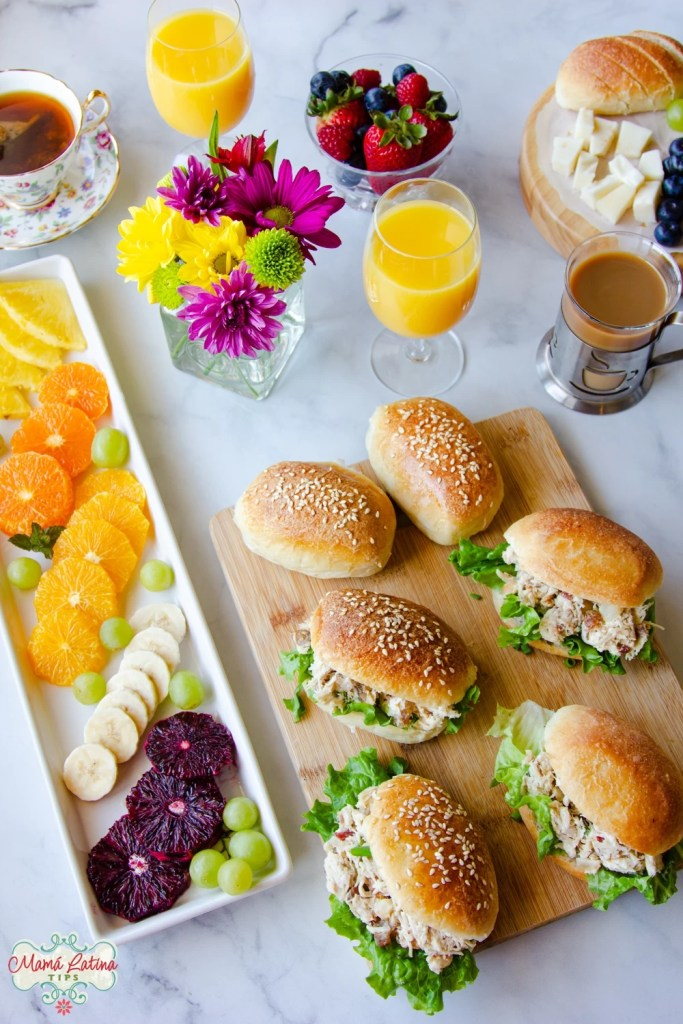 Chicken salad with dates sandwiches in a brunch table