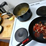 Frying Serrano Ham, Carbonara