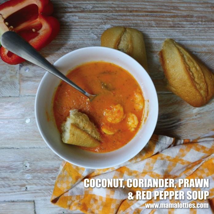 Coconut, coriander and prawn soup