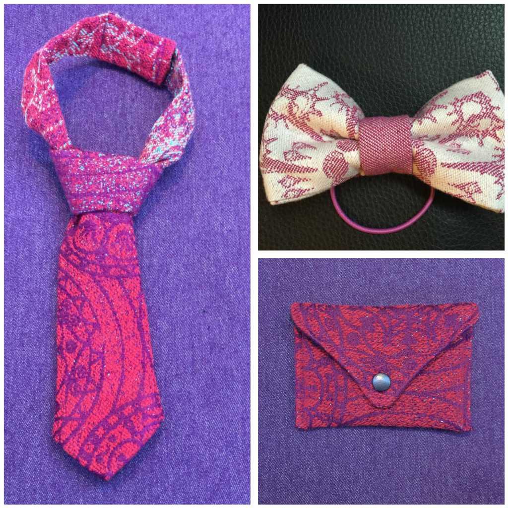 Morska Design stropdassen, kaarthouder en strikje van draagdoekstof