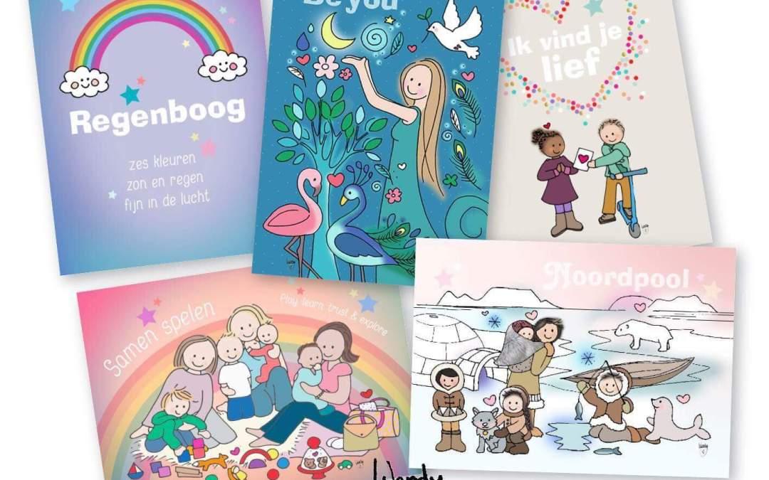Unieke Postkaarten; Ontwerpen gegrepen uit het leven van moeders