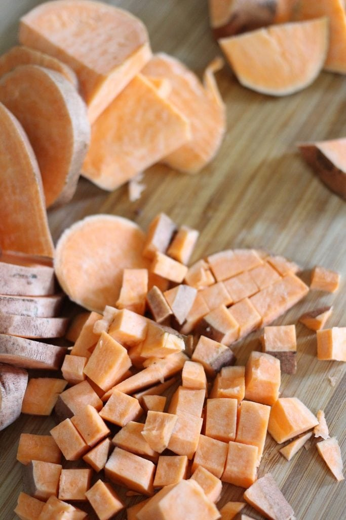 Diced sweet potatoes for Sweet Potato and Sausage Hash