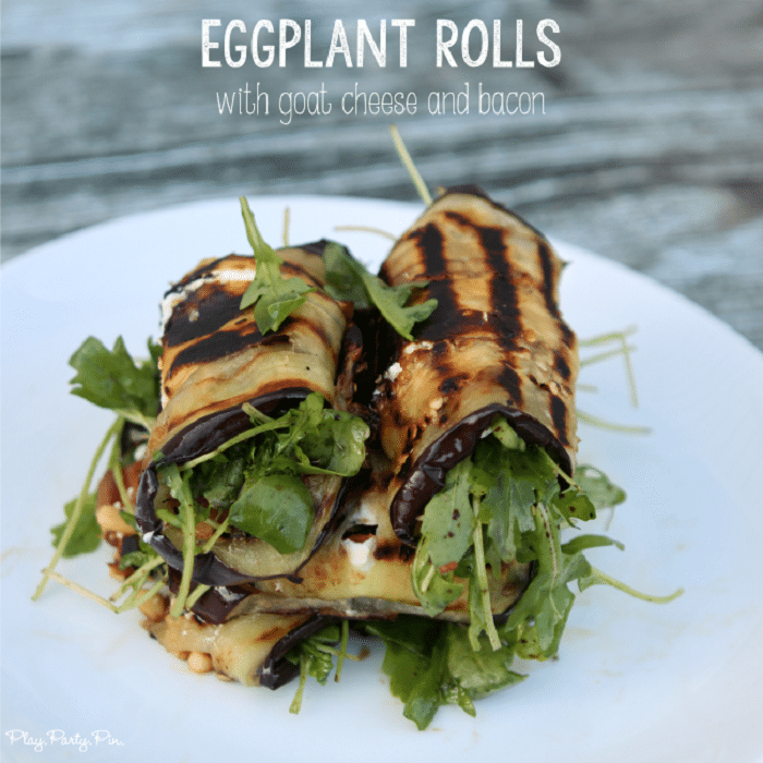 Grilled Eggplant Rolls with Goat Cheese and Bacon
