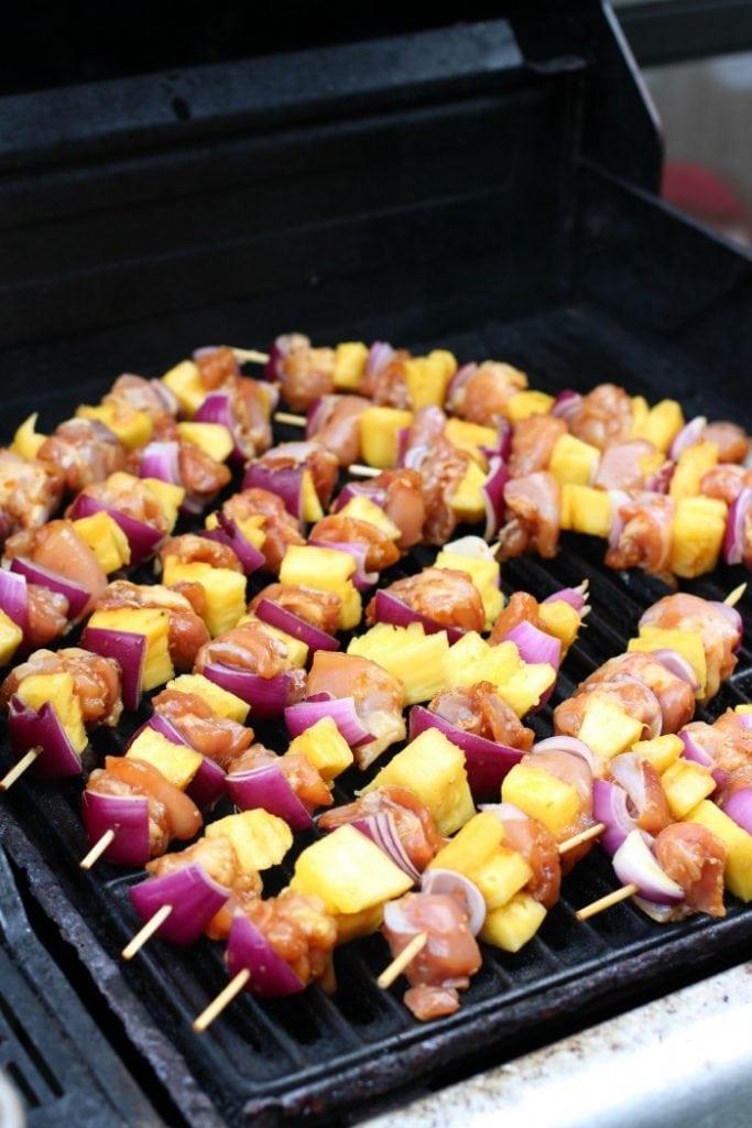 Chicken and Teriyaki Pineapple Skewers Kebab Recipe