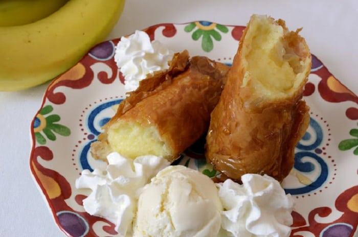 Fried Banana Cheesecake Rolls