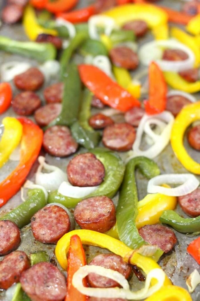 how to make sausage and peppers on a cookie sheet