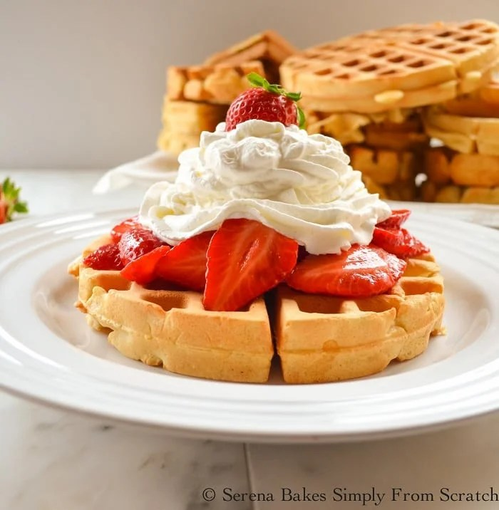 Perfect Waffles With Strawberries and Whipped Cream