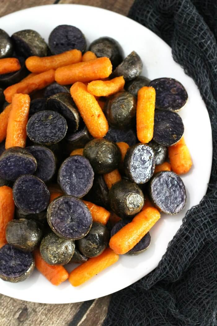 PURPLE POTATOES AND CARROTS ROASTED
