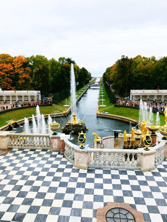 CANAL AND FOUNTAINS AT PETERHOFF