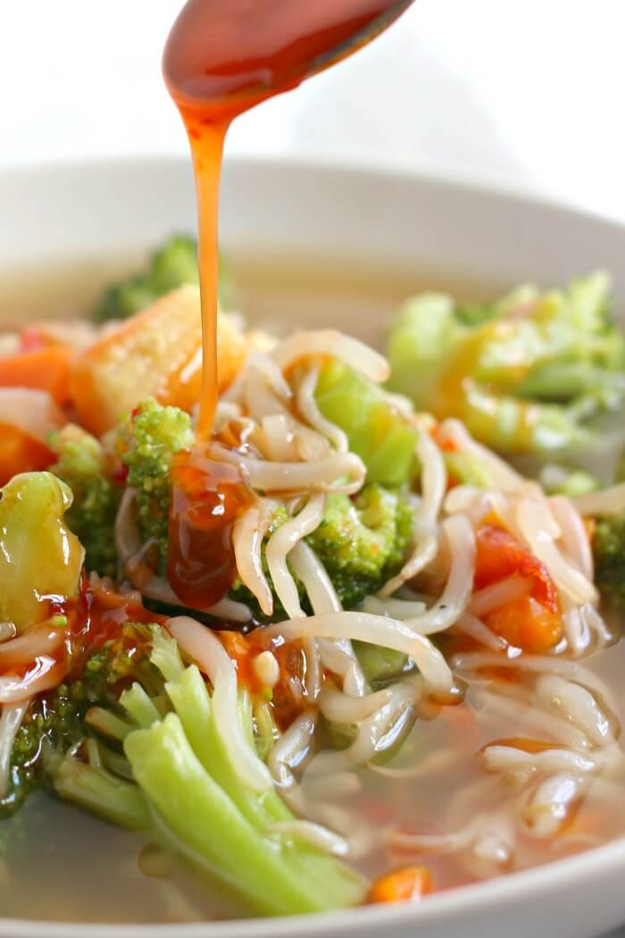 CHOW MEIN SOUP WITH SWEET AND SOUR SAUCE