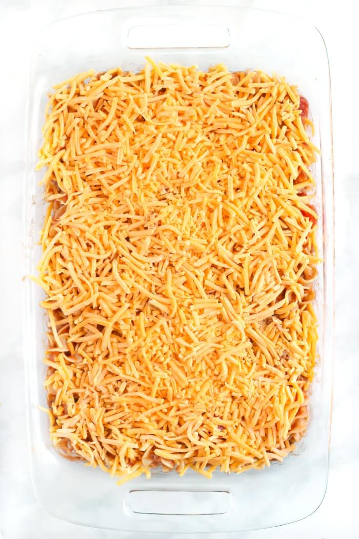 SLOPPY JOE CASSEROLE TOPPED WITH CHEESE