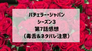 バチェラージャパンシーズン3 第7話感想(毒舌&ネタバレ注意)