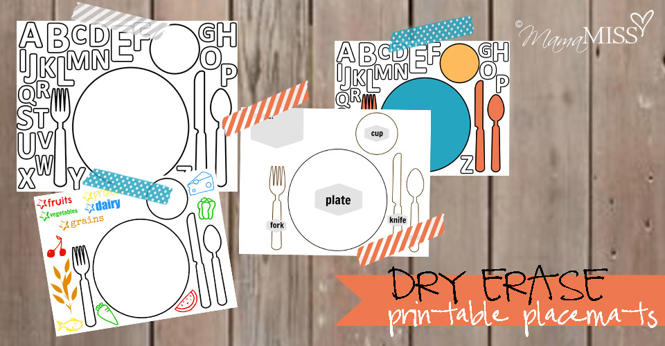 Dry Erase Printable Placemats  Mama Miss