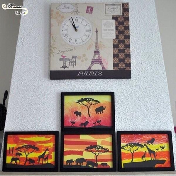 Créer des tableaux de la savane au soleil couchant en 3 façons - Utilisation de différentes techniques : découpage, collage - peinture en stick - peinture éponge couleurs et dégradé - Ombre animaux, arbre, femme - arts visuels maternelle - activité créative enfants - mslf