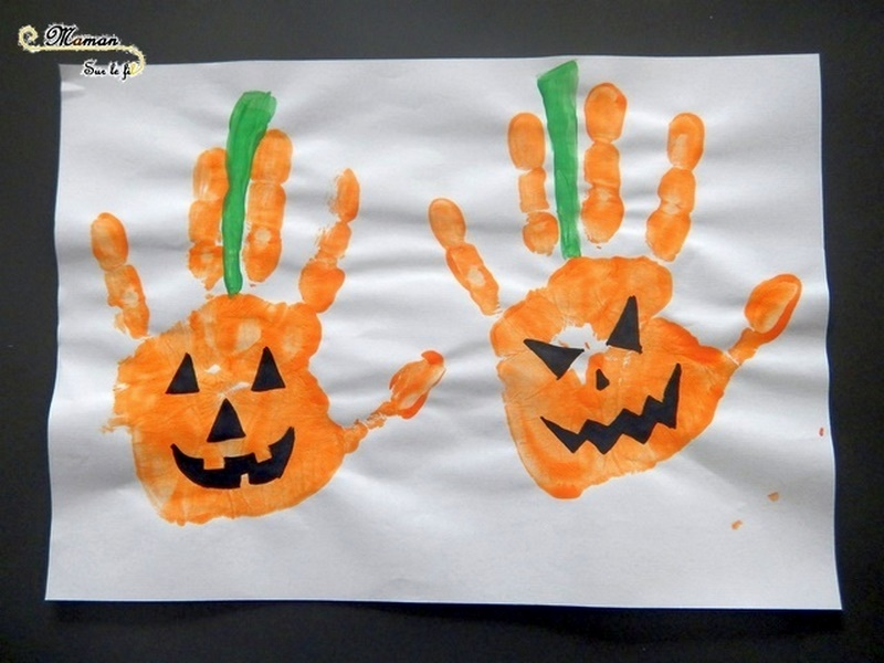 Créer des citrouilles d'Halloween avec des empreintes de main - Peinture et dessin - Activité créative enfants - Automne et Halloween - Récup et Nature - Décoration Halloween - Arts visuels - maternelle - mslf