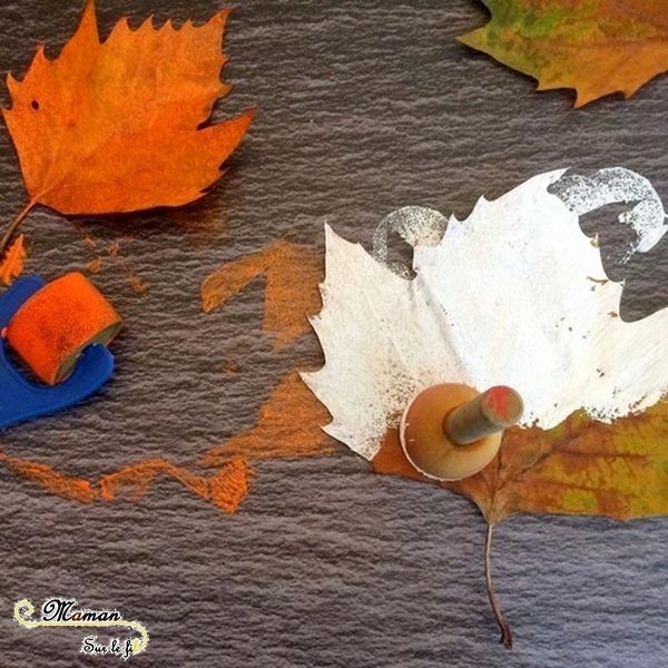 Créer des fantômes et citrouilles d'Halloween avec des feuilles mortes - Peinture et dessin - Activité créative enfants - Automne et Halloween - Récup et Nature - Décoration Halloween - Arts visuels - maternelle - mslf