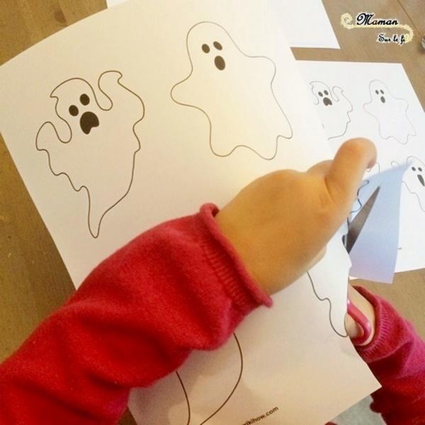 Créer des fantômes au coton-tige - Halloween et Peinture - Pointillisme et contour - Activité créative enfants - Décoration Halloween - Arts visuels - maternelle - mslf