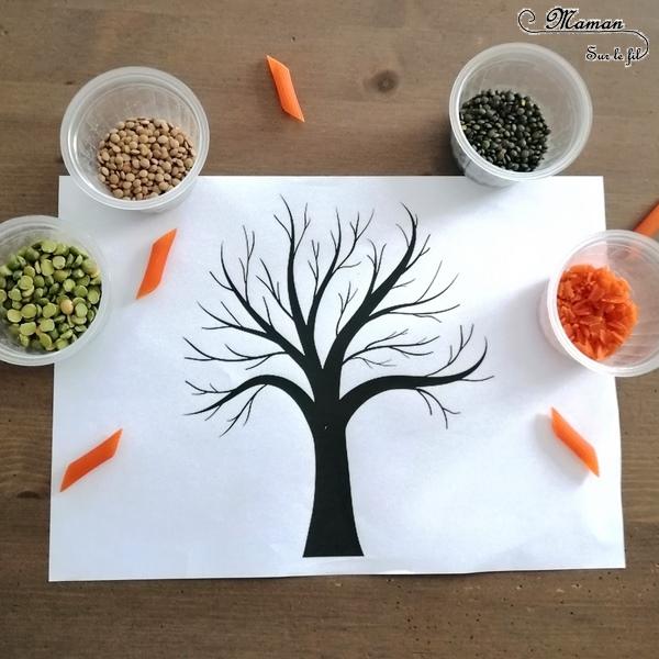 Activité enfant - Arbre automne en lentilles et pâtes corail - créative et manuelle - collage et motricité fine - Arts visuels maternelle - mslf