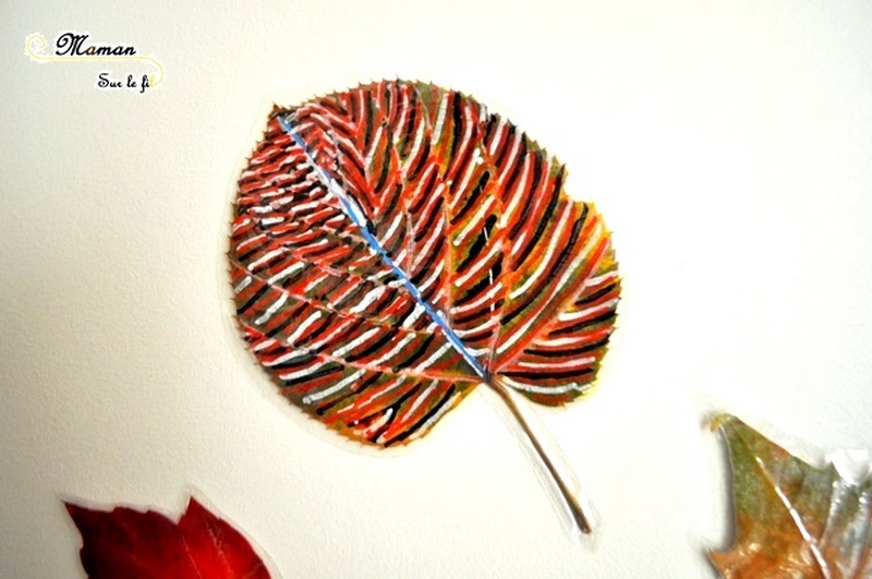 Activité manuelle enfant - Dessiner sur des feuilles mortes - Automne - Invitation à créer - Dessin libre et graphisme - Récup et nature - Land art - créative et manuelle - Arts visuels maternelle - Décoration de mur - mslf