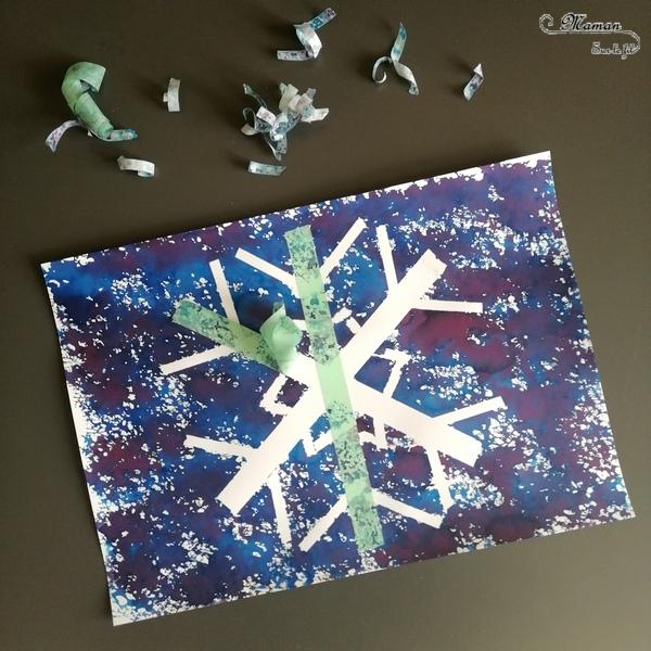 Activité créative enfants - Flocon de neige - Peinture ou encre à l'éponge et masking-tape - scotch décoratif - Froid polaire - bricolage - arts visuels hiver maternelle - mslf